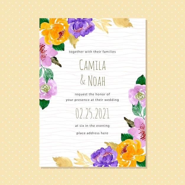 Tarjeta De Invitación De Boda Floral Acuarela Con Línea De