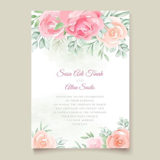 Tarjeta de invitación de boda floral acuarela vector gratuito