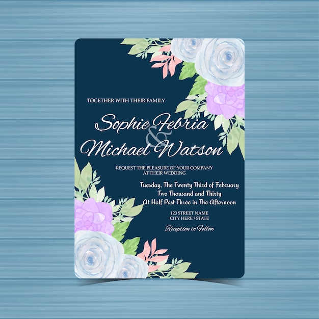 Tarjeta De Invitación De Boda Floral Azul Marino Con Rosas