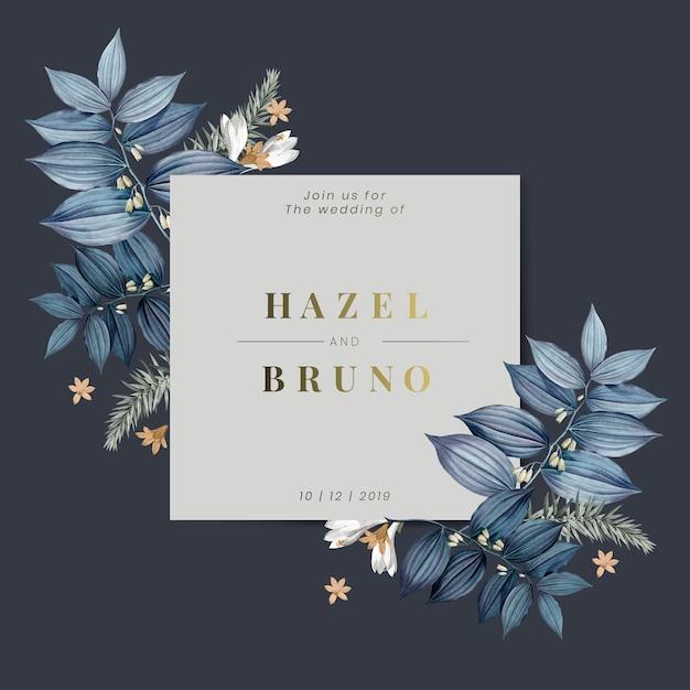 Tarjeta de invitación de boda floral azul vector gratuito