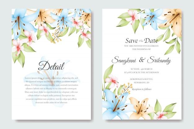 Tarjeta de invitación de boda floral elegante Vector Premium