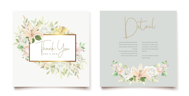 Tarjeta de invitación de boda floral lily vector gratuito