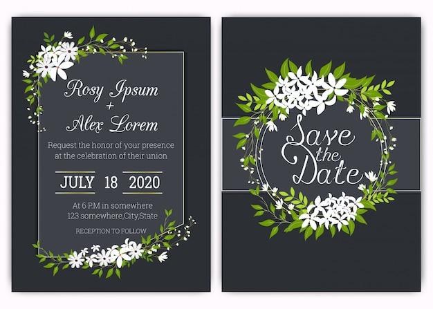 Tarjeta de invitación de boda floral marco dibujado a mano Vector Premium