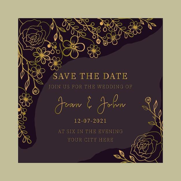 Tarjeta De Invitación De Boda Floral Oro Dibujado A Mano
