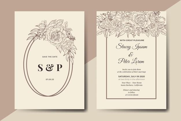 Tarjeta de invitación de boda floral vintage handdrawn vector gratuito