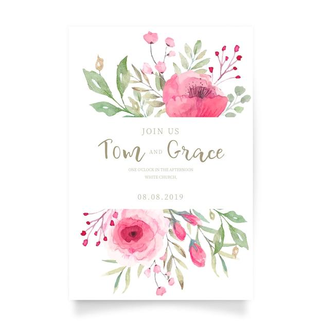 Tarjeta de invitación de boda floral vector gratuito