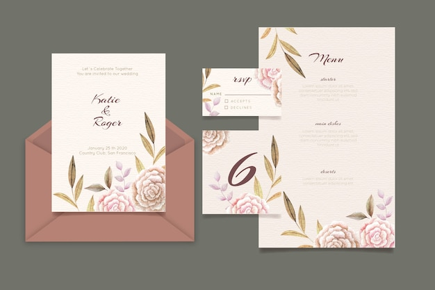 Tarjeta De Invitación De Boda Floral Vector Gratis