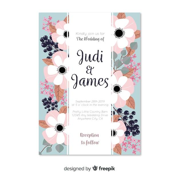 Tarjeta De Invitación De Boda Con Flores Peonía Descargar