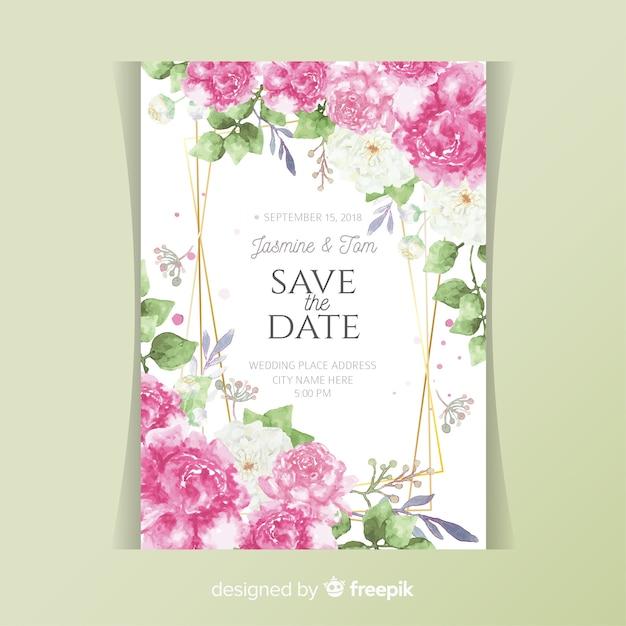 Tarjeta De Invitación De Boda Con Flores Peonía Vector Gratis