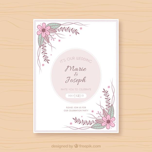 Tarjeta De Invitación De Boda Con Flores Y Plantas Vector