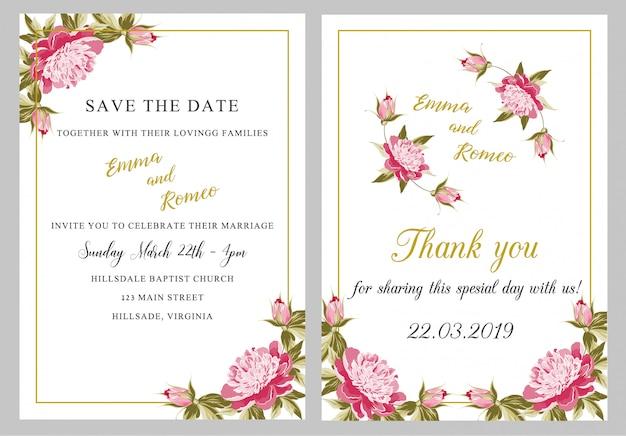 Tarjeta de invitación de boda con gracias Vector Premium