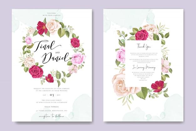 Tarjeta de invitación de boda hermosa con plantilla de marco floral Vector Premium
