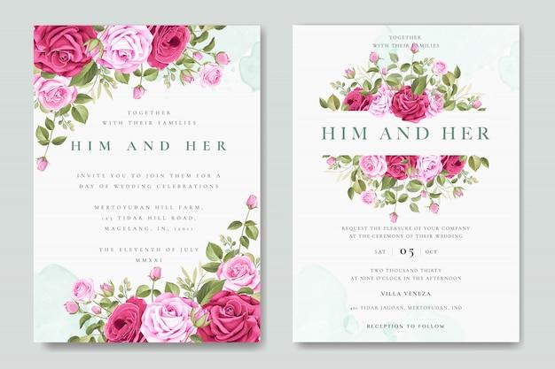 Tarjeta de invitación de boda hermosa con plantilla de rosas coloridas Vector Premium