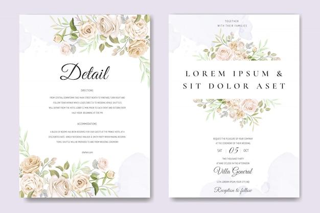 Tarjeta de invitación de boda con hermosas flores y hojas Vector Premium