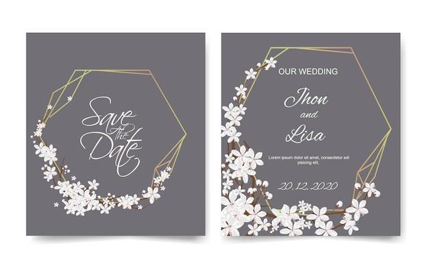 Tarjeta de invitación de boda con hermosas flores Vector Premium