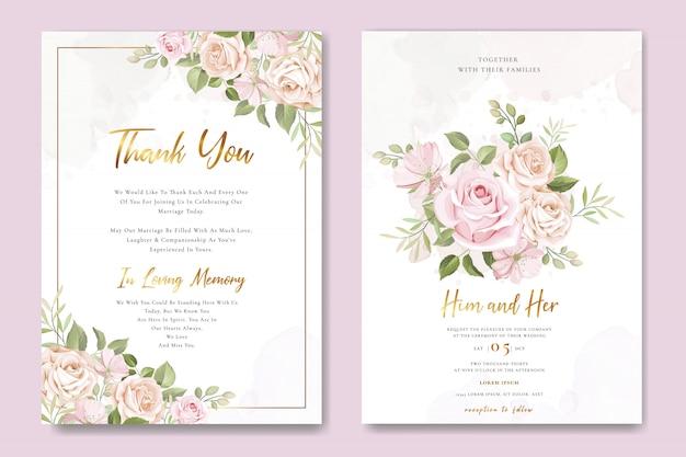 Tarjeta de invitación de boda con hermosas rosas Vector Premium