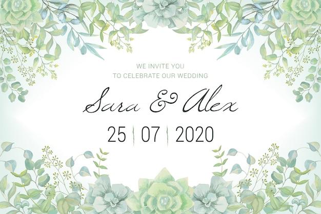 Tarjeta de invitación de boda con hojas de acuarela Vector Premium
