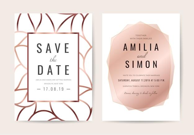 Tarjeta de invitación de boda de lujo Vector Premium