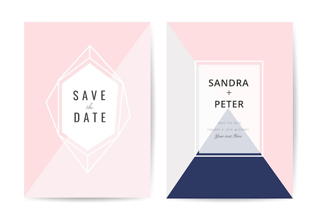 Tarjeta de invitación de boda mínima Vector Premium