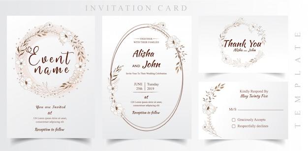 Tarjeta De Invitación De Boda Moderna Floral Vector Premium