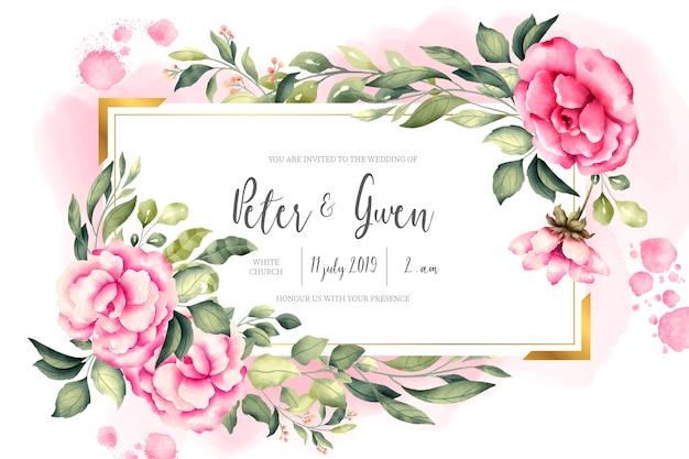 Tarjeta de invitación de boda con naturaleza vintage vector gratuito