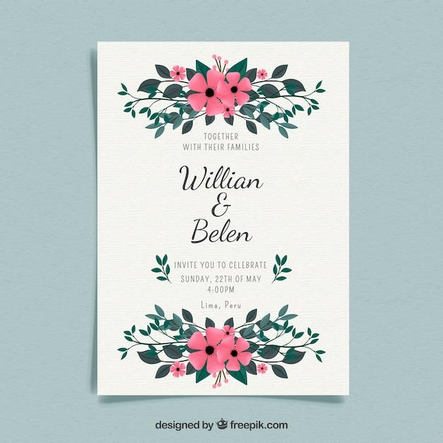 Tarjeta De Invitación De Boda Con Ornamentos Florales