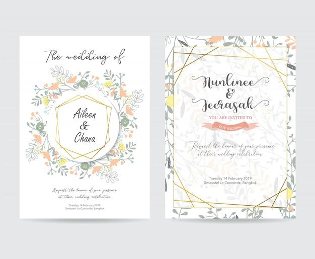 Tarjeta de invitación de boda de oro geometría con flor Vector Premium
