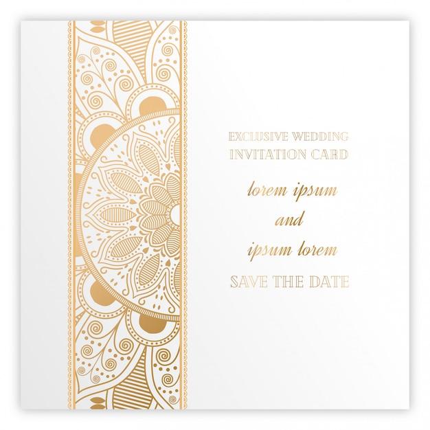 Tarjeta De Invitación De Boda De Oro Mandala De Lujo