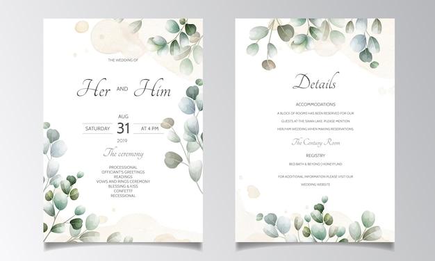 Tarjeta de invitación de boda con plantilla de hojas de eucalipto Vector Premium