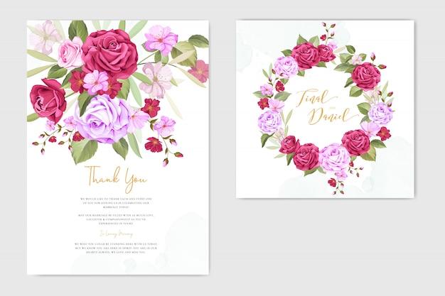 Tarjeta de invitación de boda con plantilla de marco floral y hojas Vector Premium