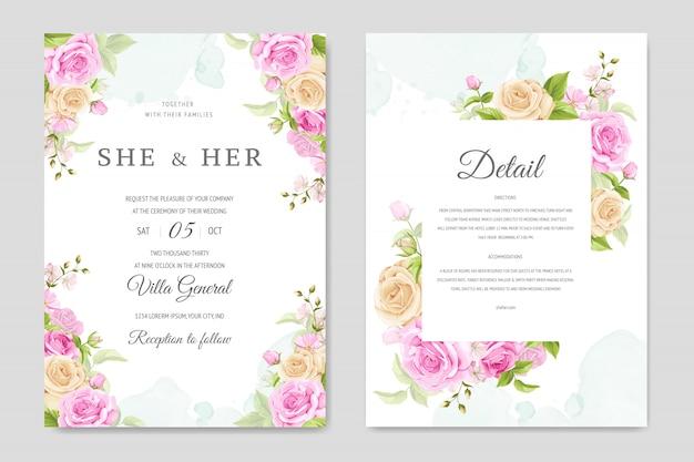Tarjeta de invitación de boda con plantilla de rosas amarillas y rosadas Vector Premium