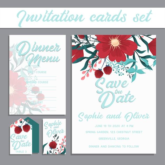 Tarjeta de invitación de boda suite con plantillas de flores. Vector Premium