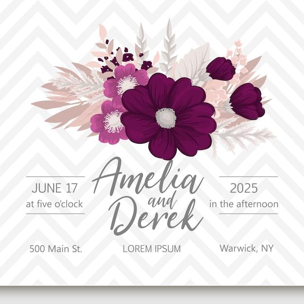 Tarjeta de invitación de boda suite con plantillas de flores. vector gratuito