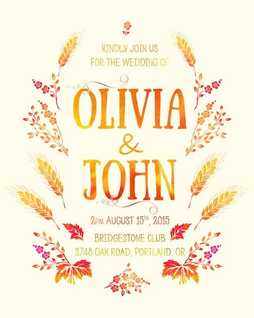 Tarjeta de invitación de boda. tarjeta de invitación con elementos florales acuarelas vector gratuito