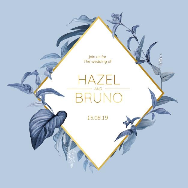 Tarjeta de invitación de boda con vector de diseño de hojas azules vector gratuito
