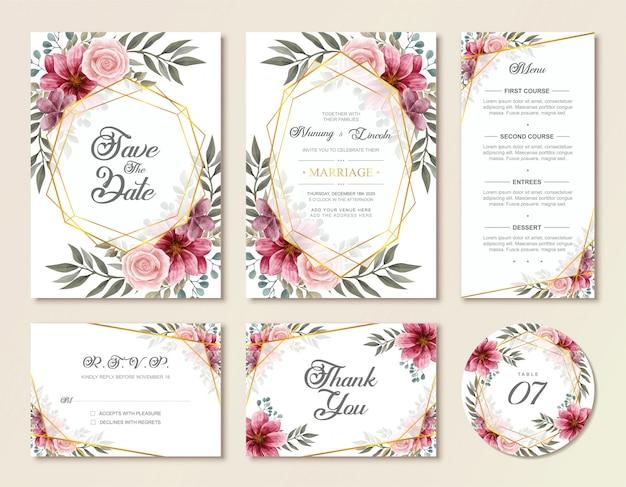 Tarjeta de invitación de boda de la vendimia con flores florales de acuarela Vector Premium