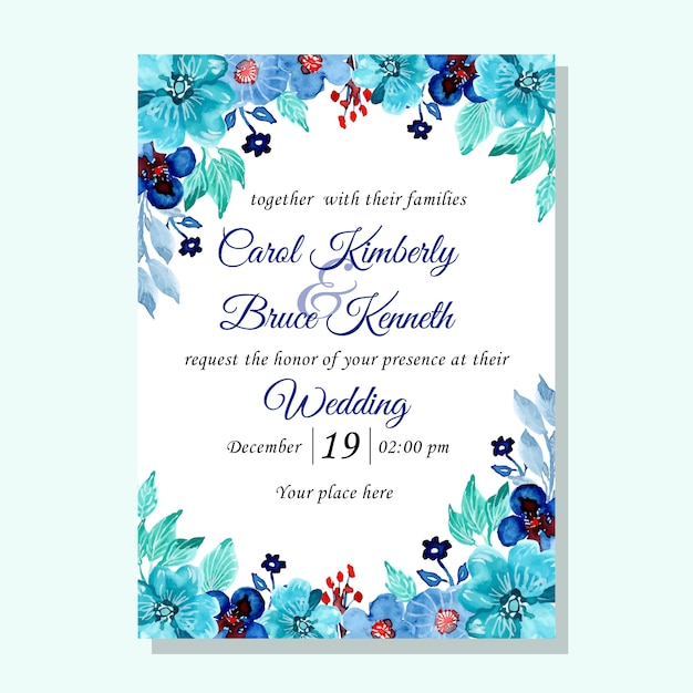 Tarjeta De Invitación De Boda Verde Azul Con Flores Acuarela