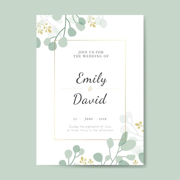 Tarjeta de invitación de boda vector gratuito