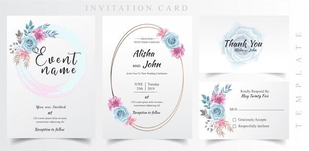 Tarjeta de invitación de boda Vector Premium