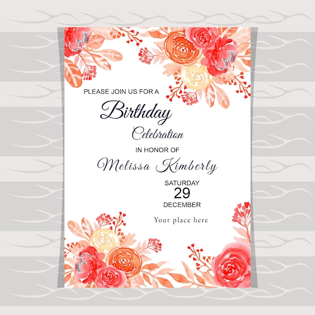 Tarjeta De Invitación De Cumpleaños Floral Acuarela Vector