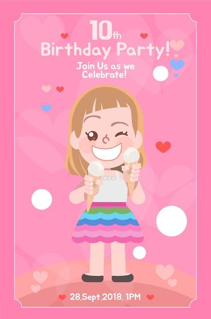 Tarjeta De Invitación De Cumpleaños Para Niñas Vector Premium