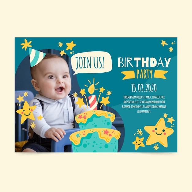 Tarjeta de invitación de cumpleaños para niños con foto Vector Premium