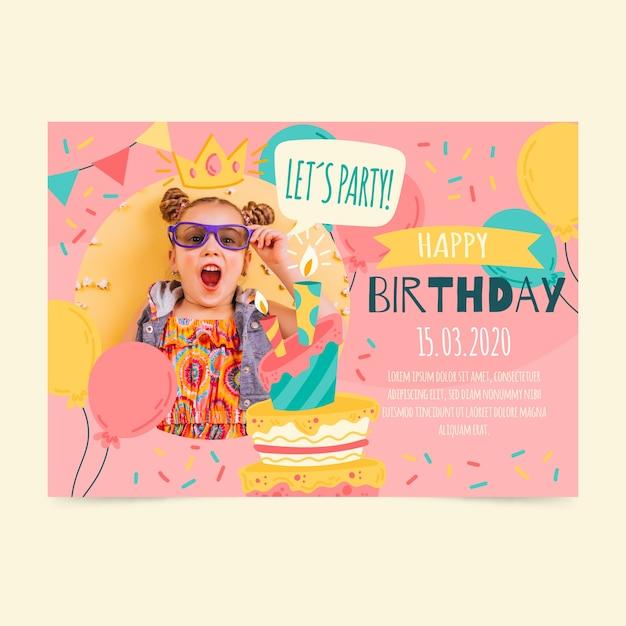 Tarjeta de invitación de cumpleaños para niños con foto vector gratuito