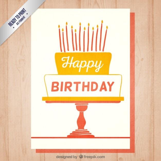 Tarjeta De Invitación De Cumpleaños Retro Vector Gratis