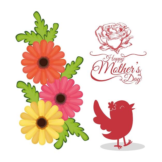 Tarjeta De Invitación De Día De Madres Feliz Con Flores De