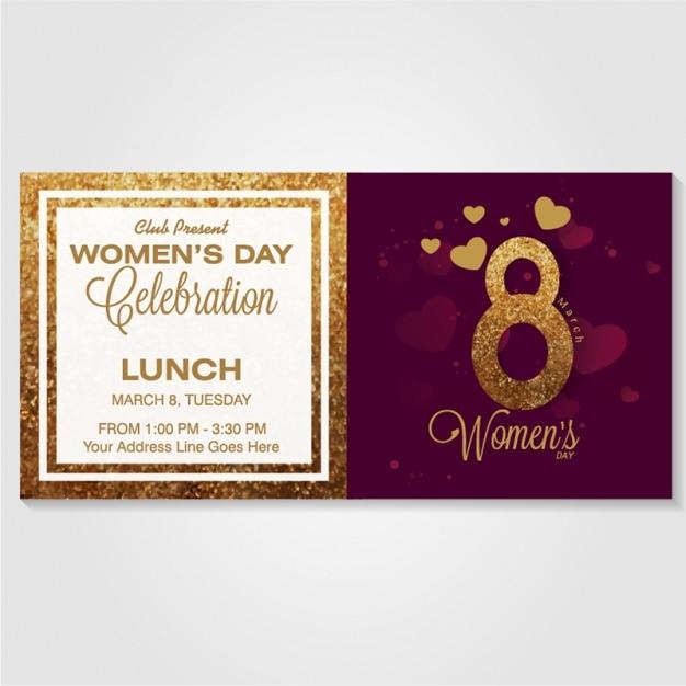 Tarjeta De Invitación Para El Día De La Mujer Vector Premium