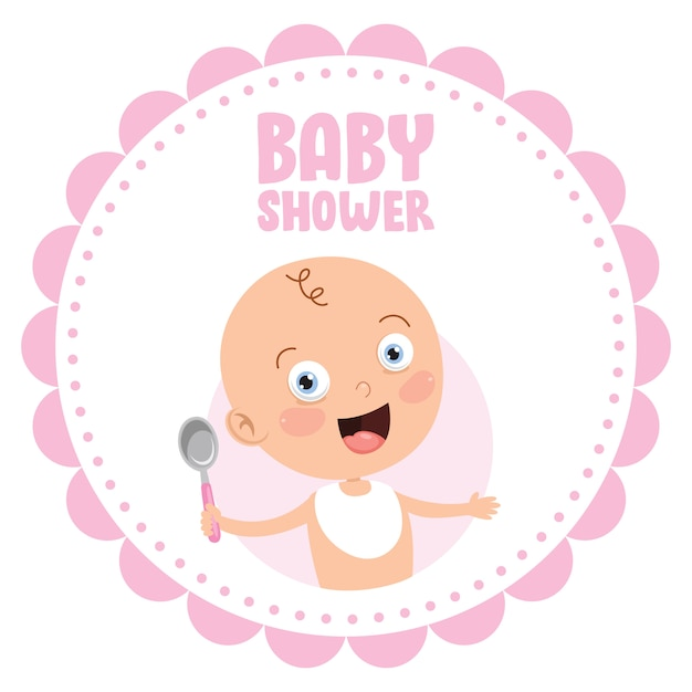 Tarjeta de invitación de felicitación para el evento baby shower Vector Premium