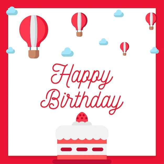 Tarjeta De Invitación De Feliz Cumpleaños En Color Rojo