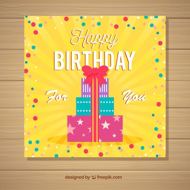 Tarjeta De Invitación De Feliz Cumpleaños En Estilo Plano