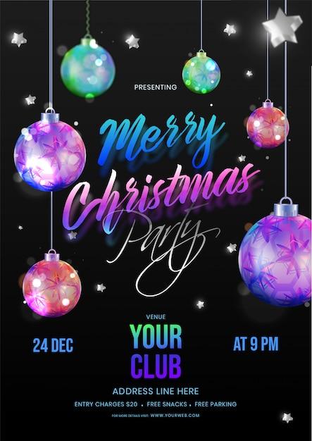 Tarjeta De Invitación De La Feliz Fiesta De Navidad Decorada